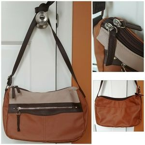 Handbags - DOUBLE ZIPPER TAN BROWN PURSE HANDBAG FAUX LEATHER